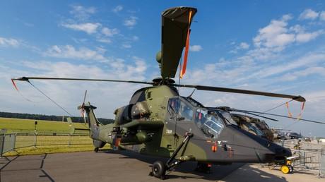 Ein Bundeswehr-Hubschrauber vom Typ Tiger bei der Internationalen Luft- und Raumfahrtausstellung Berlin am 2. Juni 2016. Das Modell gilt als pannenanfällig. Bis heute ist der Absturz eines