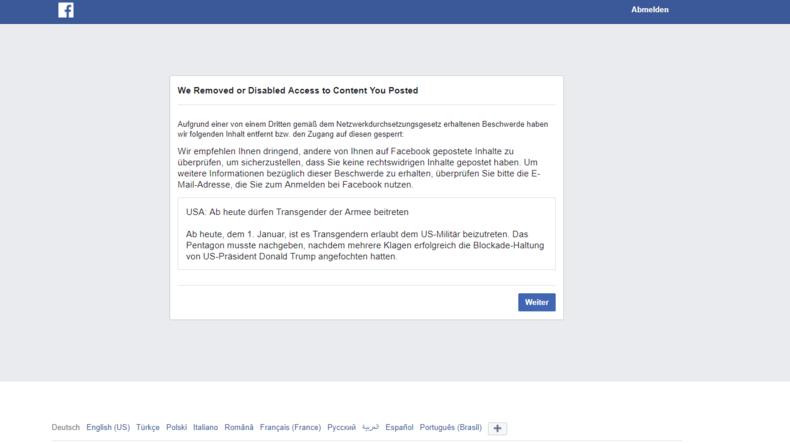 Netzwerkdurchsetzungsgesetz schlägt zu: Facebook sperrt RT-Deutsch-Artikel über US-Armee