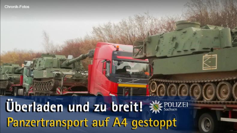 Polizei stoppt überladenen Panzertransport der US-Armee