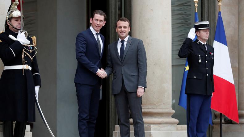 LIVE: Macron hält gemeinsame Pressekonferenz mit  österreichischem Bundeskanzler Kurz in Paris ab