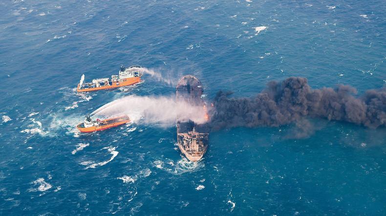 """Rettungskräfte bergen zwei Tote von brennendem Öl-Tanker """"Sanchi"""""""