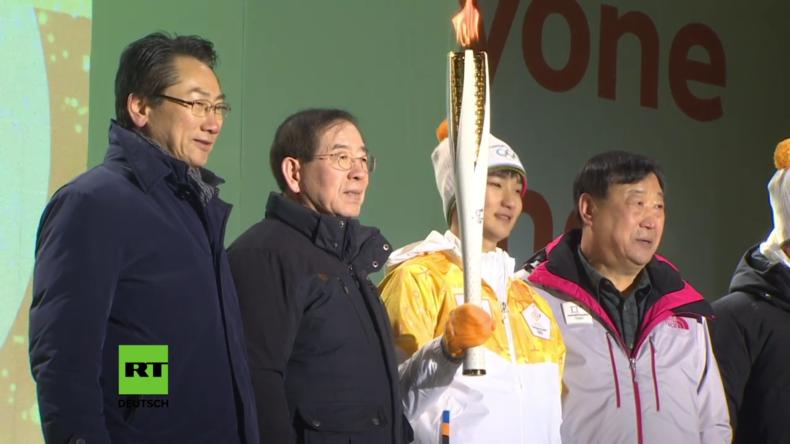 Südkorea: Vor Beginn der Winterspiele in Pyeongchang kommt die Olympische Fackel in Seoul an