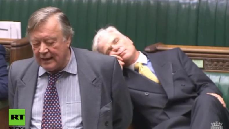 Politiker im Dienst: Brexit-Gegner pennt bei Debatte zum EU-Austritt Großbritanniens ein