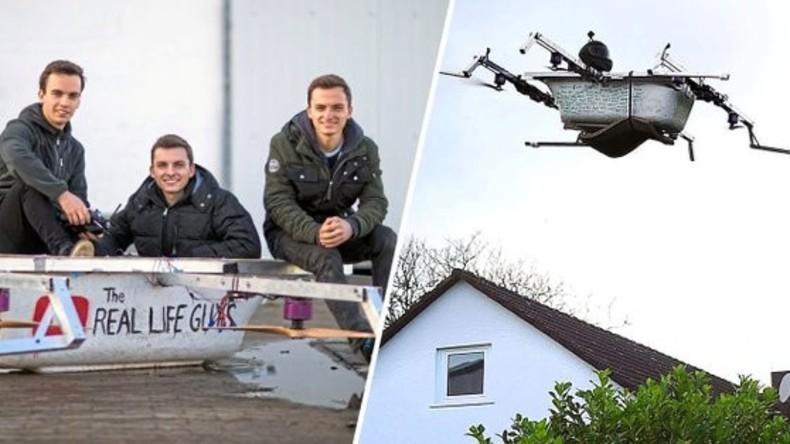 Deutscher baut Flugapparat aus Badewanne und fliegt in Bäckerei