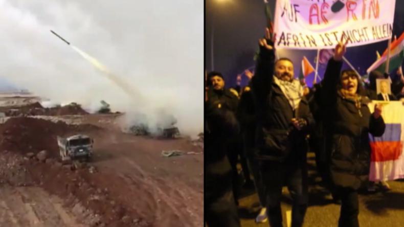 Türkischer Einmarsch in syrischem Afrin: Videos zeigen Angriffe und Proteste