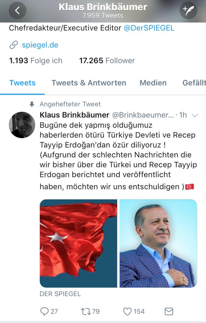 Twitter-Account des Spiegel-Chefredakteurs Klaus Brinkbäumer  offenbar von Erdogan-Fans gehackt