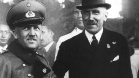 Nachdem Reichspräsident Paul von Hindenburg General Kurt von Schleicher (links) zum Reichskanzler ernannt hatte, strebte Schleicher eine Zusammenarbeit der Reichswehr mit rechtsgerichteten Sozialdemokraten, dem ADGB und dem