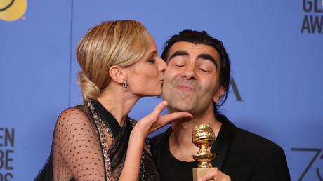 Das Küsschen hat er sich verdient: Fatih Akin (R) mit der Hauptdarstellerin seines Films Diane Kruger.