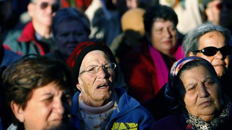 Proteste gegen schlechte Lebensbedingungen von Holocaust-Überlebenden, Jerusalem, Israel, 25. Januar 2007.
