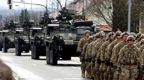 US-Truppen im deutschen Vilseck während der Truppenverlegung im Rahmen der