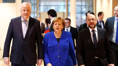 Horst Seehofer, Angela Merkel, Martin Schulz, Deutschland, Berlin, 12. Januar 2018.