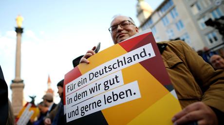 Unterstützer von Angela Merkel in München, Deutschland, 22. September 2017.