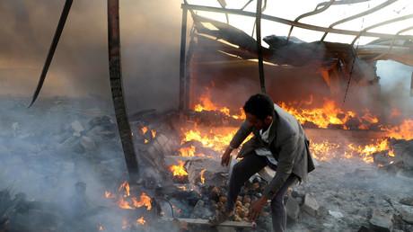 Saudischer Angriff auf ein Wohngebäude in Saada, Jemen, 6. Januar 2018