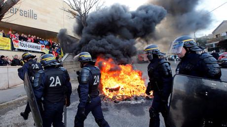 Gefängniswärter versus Polizei, Gefängis Baumettes, Marseille, Frankreich, 22. Januar 2018