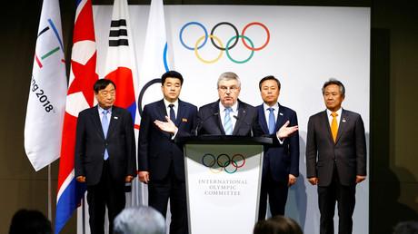IOC-Präsident Thomas Bach spricht vor der Presse nach einem Treffen mit dem NOC, Lausanne, Schweiz, 20. Januar 2018.