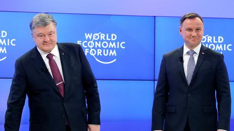 Die Staatsoberhäupter der Ukraine und Polens beim World Economic Forum in Davos: Präsident Petro Poroschenko (l.) und Präsident Andrzej Duda. (Davos, Schweiz, 26. Januar 2018, Quelle: Reuters)