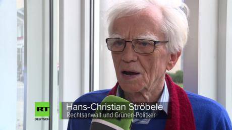 Grünen-Politiker Hans-Christian Ströbele im Gespräch mit RT Deutsch beim Parteitag in Hannover (27. Januar 2018)