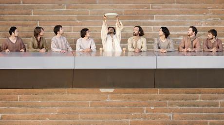 Schauspieler in Sydney stellen das letze Abendmahl anlässlich des Besuches von Papst Benedict XVI nach, Australien 18. Juli 2008.