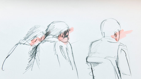Rakhmat Akilov (Bildmitte), Attentäter von Stockholm vor Gericht, Stockholm, 11. April 2017.