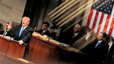 Der US-amerikanische Präsident Donald Trump nach seiner Rede am 20. Januar 2018.