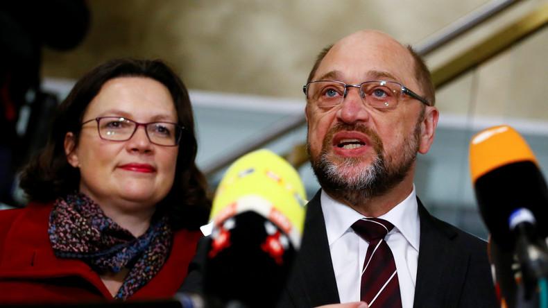 Live: Nach Einigung auf GroKo - Schulz und Nahles veranstalten Pressekonferenz in Berlin