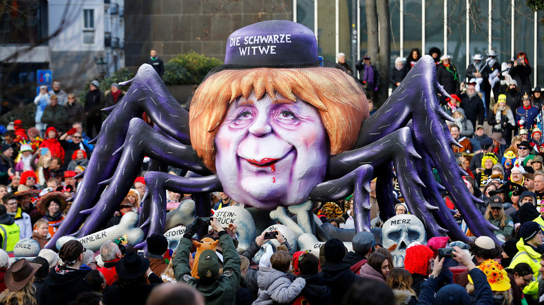 Merkel als Schwarze Witwe: Hunderttausende bei Rosenmontagszügen
