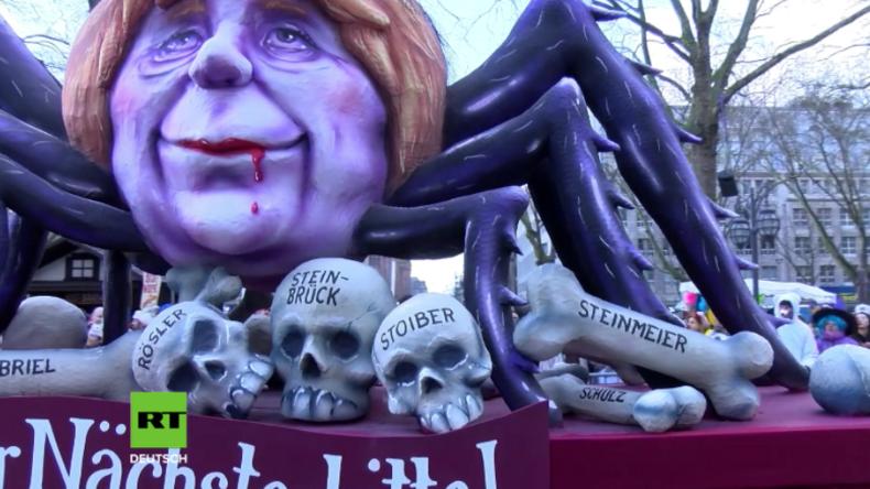"""Karneval: """"Selber Schulz"""" - Mottowagen verspotten Brexit, Trump und Merkel"""