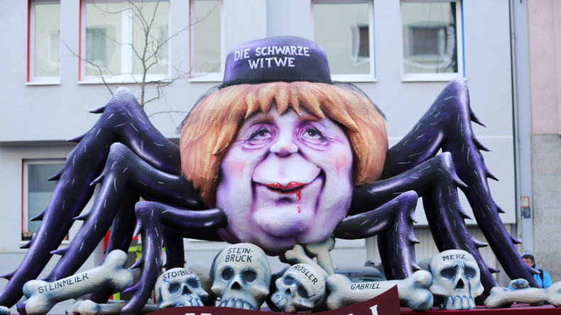 """Schulz im Fleischwolf, Merkel als """"Schwarze Witwe"""": Hohn und Spott bei Karneval in Düsseldorf"""