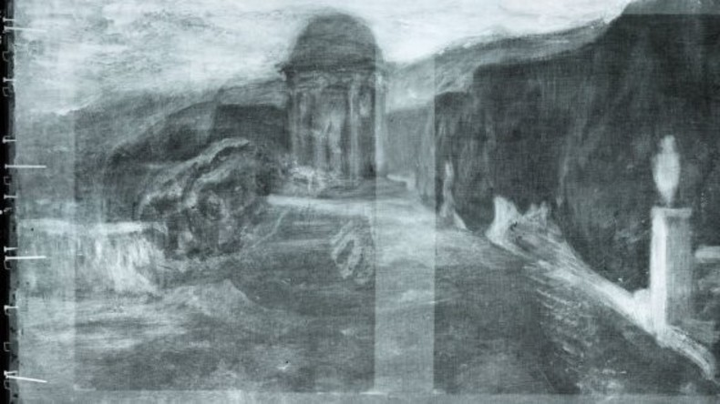 Forscher entdecken Landschaft und übermalte Hand unter Picasso-Bild