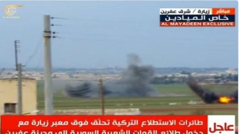 Syrisches Staatsfernsehen: Türkei bombardiert syrischen Konvoi in Afrin