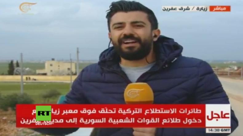 Einmarsch von Pro-Regierungsmilizen in Afrin: Hinter Reporter schlagen türkische Geschosse ein