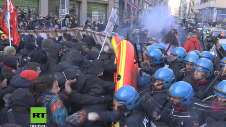 Italien vor den Parlamentswahlen: Zusammenstöße zwischen vermummten Linken und Polizei