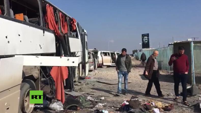 """Syrien: Video zeigt angeblich """"terroristischen"""" Konvoi, der durch die Türkei bombardiert wurde"""