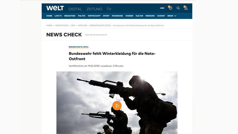 """Keine Winterbekleidung an der """"Nato-Ostfront"""": Deutsche Presse im Frontschau-Modus"""