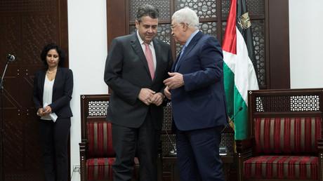 Mahmoud Abbas trifft auf den deutschen Außenminister Sigmar Gabriel, in Ramallah, 31. Januar 2018.