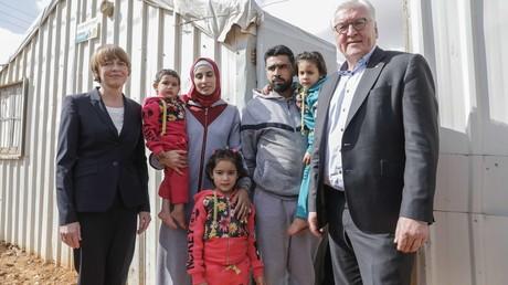 Der deutsche Bundespräsident Frank-Walter Steinmeier in einem Flüchtlingscamp in Jordanien am 29. Januar 2018.