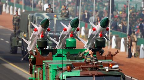 Raketenschau für den Tag der Republik, Neu Delhi, Indien, 23. Januar 2017.