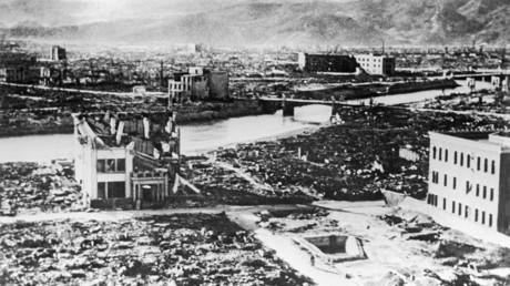 Japanische Stadt Hiroshima nach dem Abwurf der US-amerikanischen Atombombe am 6. August 1945.