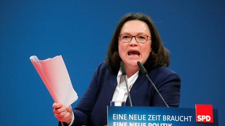 SPD-Fraktionschefin Andrea Nahles beim Parteitag in Bonn am 21. Januar 2018.