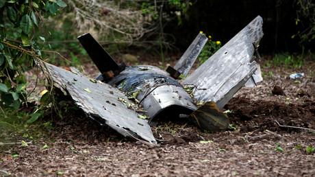 Überreste der Rakete im israelischen Alonei Abba, mit der das syrische Militär den F16-Kampfjet abgeschossen haben soll.