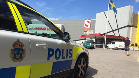 Schwedisches Polizeiauto Vasteras, Schweden, 10. August 2015.