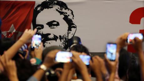 São Paulo, 22. Februar: Das Konterfei von Lula da Silva schmückt die Feierlichkeiten der Arbeiterpartei anlässlich des 38. Jahrestags ihrer Gründung.