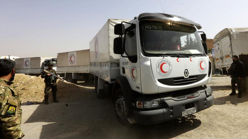 Syrien: Hilfskonvoi im belagerten Ost-Ghuta angekommen - Medizinartikel aussortiert