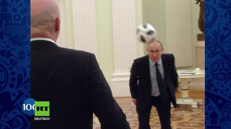Noch 100 Tage bis zur WM - Zur Feier des Tages treten Putin und mehrere Fußballlegenden den Ball