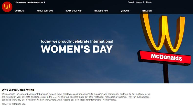 McDonald's dreht an Weltfrauentag sein Logo um