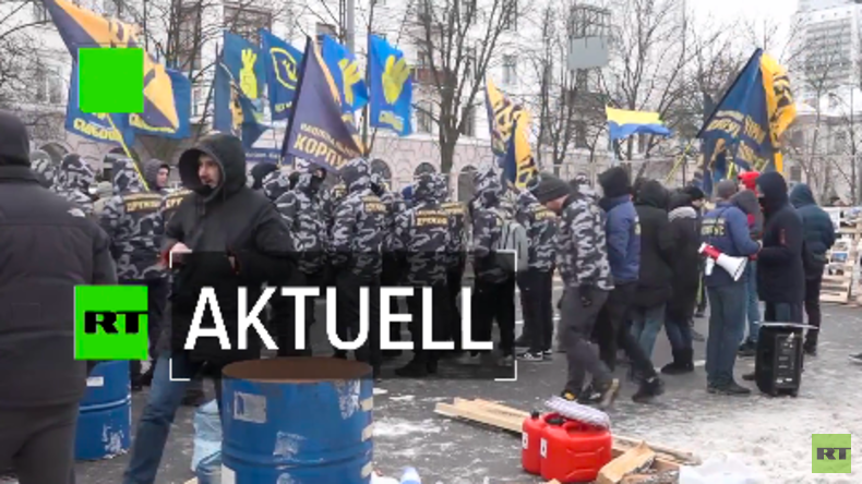 Protestaktionen von Nationalisten in Kiew: Toiletten als Wahlkabinen (Video)
