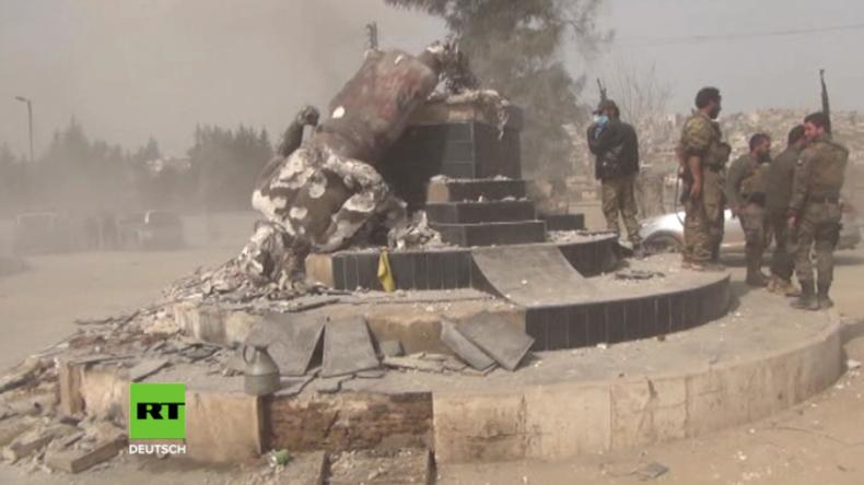 Afrin nach Einfall der FSA: Zielloses Geballer, Plünderungen und zerstörte kurdische Symbole