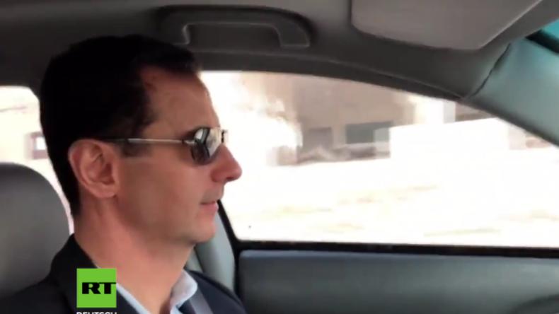 Syriens Präsident Assad fährt mit Honda Civic durch umkämpfte Gebiete vor Ost-Ghuta