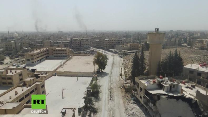 Drohnenaufnahmen aus Ost-Ghuta zeigen aus Herrschaft der Islamisten zurückerobertes Gebiet
