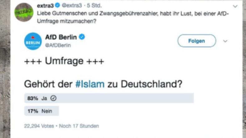 """""""Gelöscht ist gelöscht"""" – AfD löscht Umfrage zu Islam in Deutschland"""